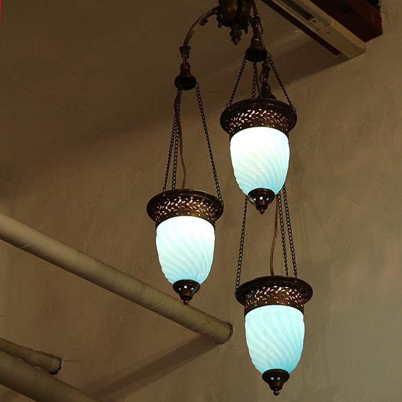 アンティークガラスのトルコランプ・3灯シャンデリア/トルコブルー