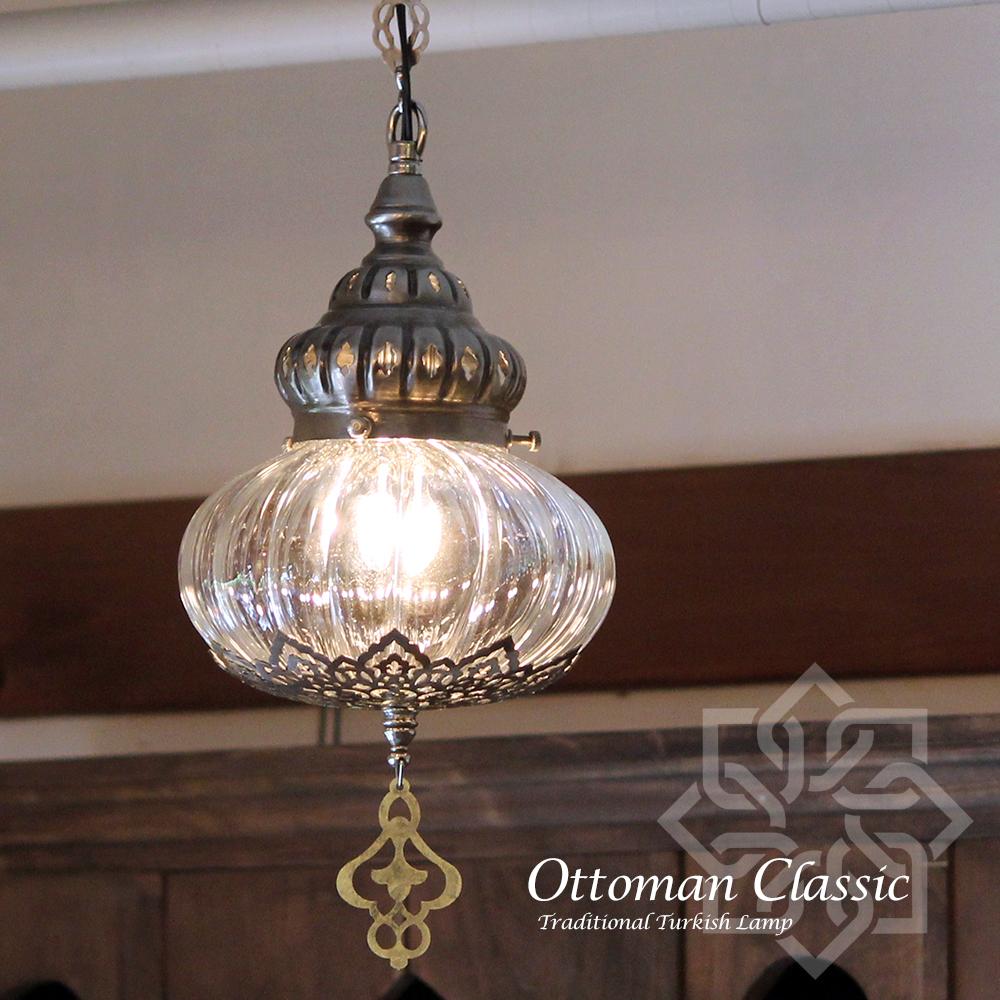 オットマンクラシックガラスシェードランプ・ペンダントライト・ペンダントランプ1灯/Ottoman Classic Traditional Turkish Lamp lphop017