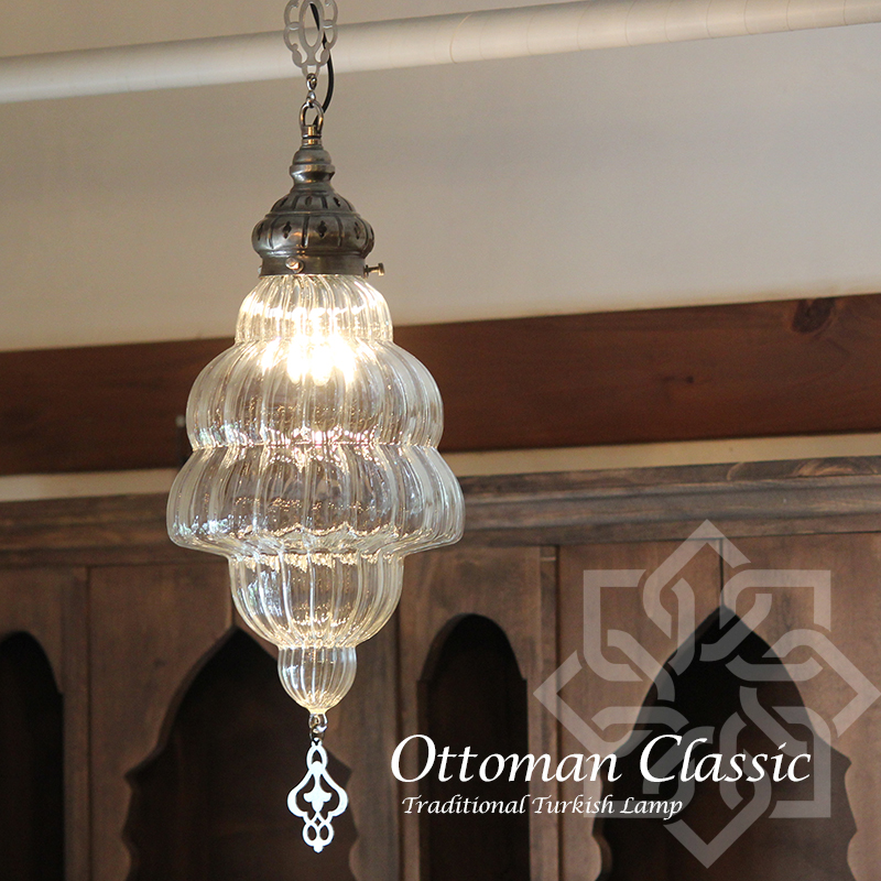オットマンクラシックガラスシェードランプ・ペンダントライト・ペンダントランプ1灯/Ottoman Classic Traditional Turkish Lamp lphop20k