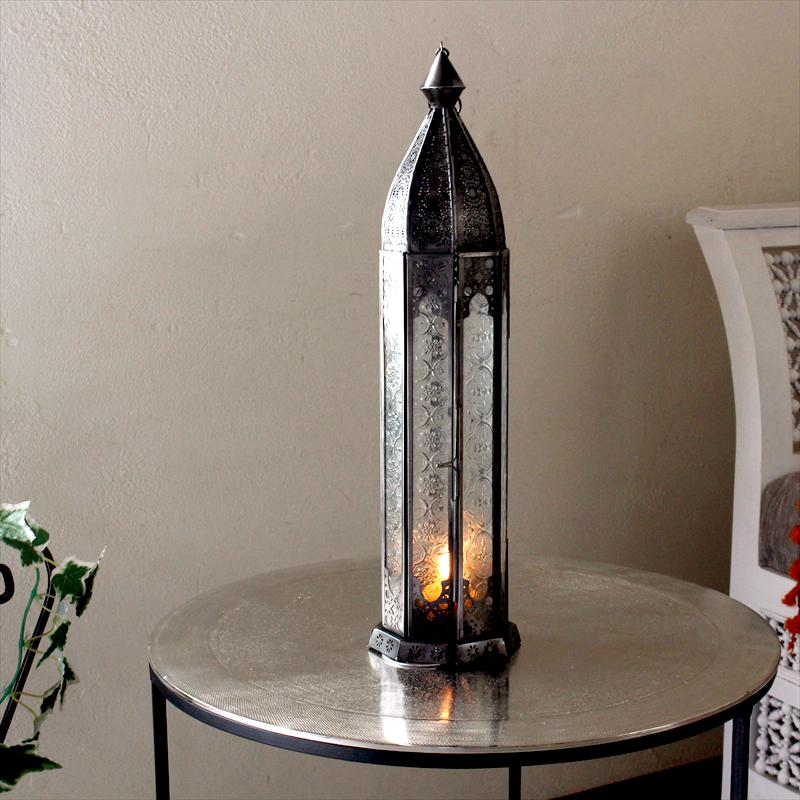 モロッコランタン・キャンドルホルダー 高さ46cm オリエンタルランプ8面のレリーフガラス Morocco Lantern Candle holder