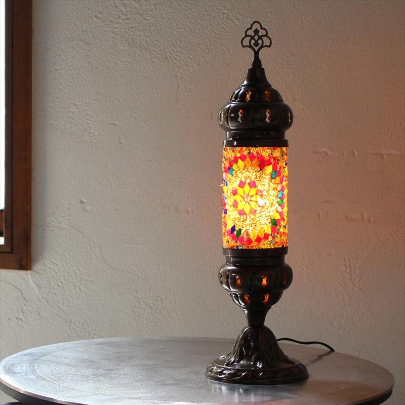 オリエンタルムードのトルコモザイクガラススタンドランプ・シリンダーカラフルフラワー 全長44cm/ E17・25W<日本仕様のコードに変更済み>店舗照明・エスニック・BOHO・輸入照明