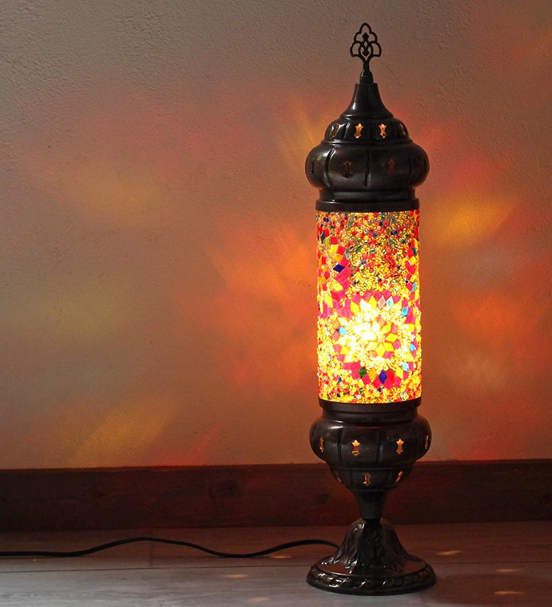 オリエンタルムードのトルコモザイクガラスフロアランプ・シリンダーカラフルフラワー 全長54cm/ E17・25W<日本仕様のコードに変更済み>店舗照明・エスニック・BOHO・輸入照明