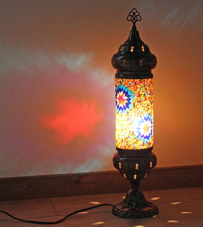 オリエンタルムードのトルコモザイクガラスフロアランプ・シリンダーオレンジスター 全長54cm/ E17・25W<日本仕様のコードに変更済み>店舗照明・エスニック・BOHO・輸入照明