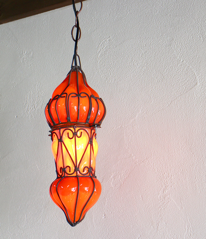 エジプシャン・ガラスとアイアンのペンダントライトS/地中海スタイルのモロッコランプ・Mサイズ オレンジ E17/25W白熱球付