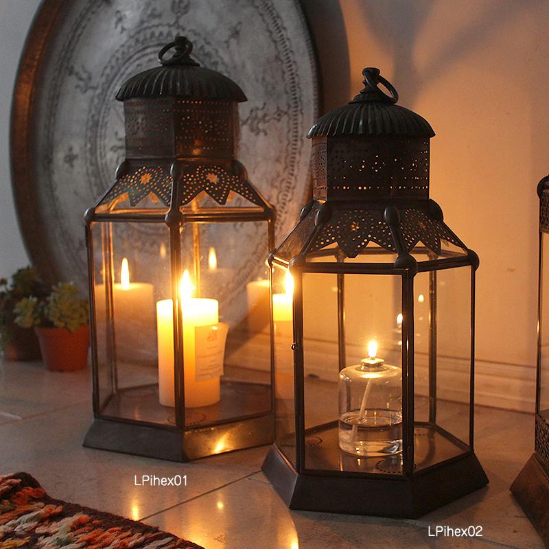 アラブ風ガラスランタン/銅製ランプ トルコ製モロッコランプ・オリエンタル照明 ノマド
