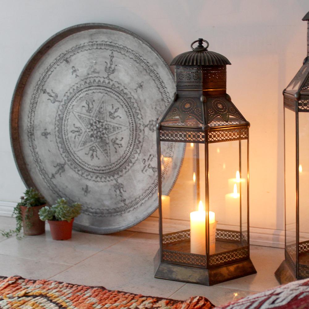 アラブ風ガラスランタン 高さ69cm/銅製ランプ トルコ製モロッコランプ・フロアランプ キャンドルホルダー ノマド【店舗照明】