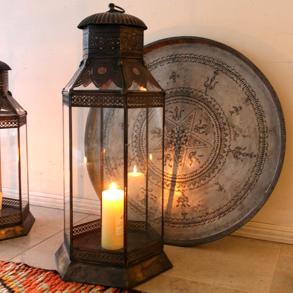 アラブ風ガラスランタン 高さ81cm/銅製ランプ トルコ製モロッコランプ・フロアランプ キャンドルホルダー ノマド【店舗照明】