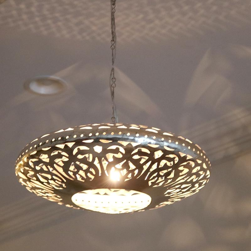 メタルシェード・ペンダントランプ/Egyptian Metal shade Lamps, Handmade ペンダントライト Φ36cm/UFO シルバー色/アラベスク店舗照明・エスニック・BOHO・輸入照明