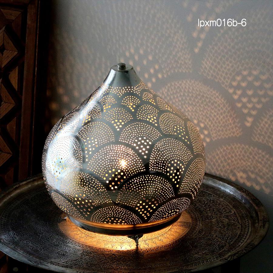 モロッコ メタルシェード・スタンドランプ/Moroccan Metal shade LampsΦ30cm/Sogan シルバー色/レインボー
