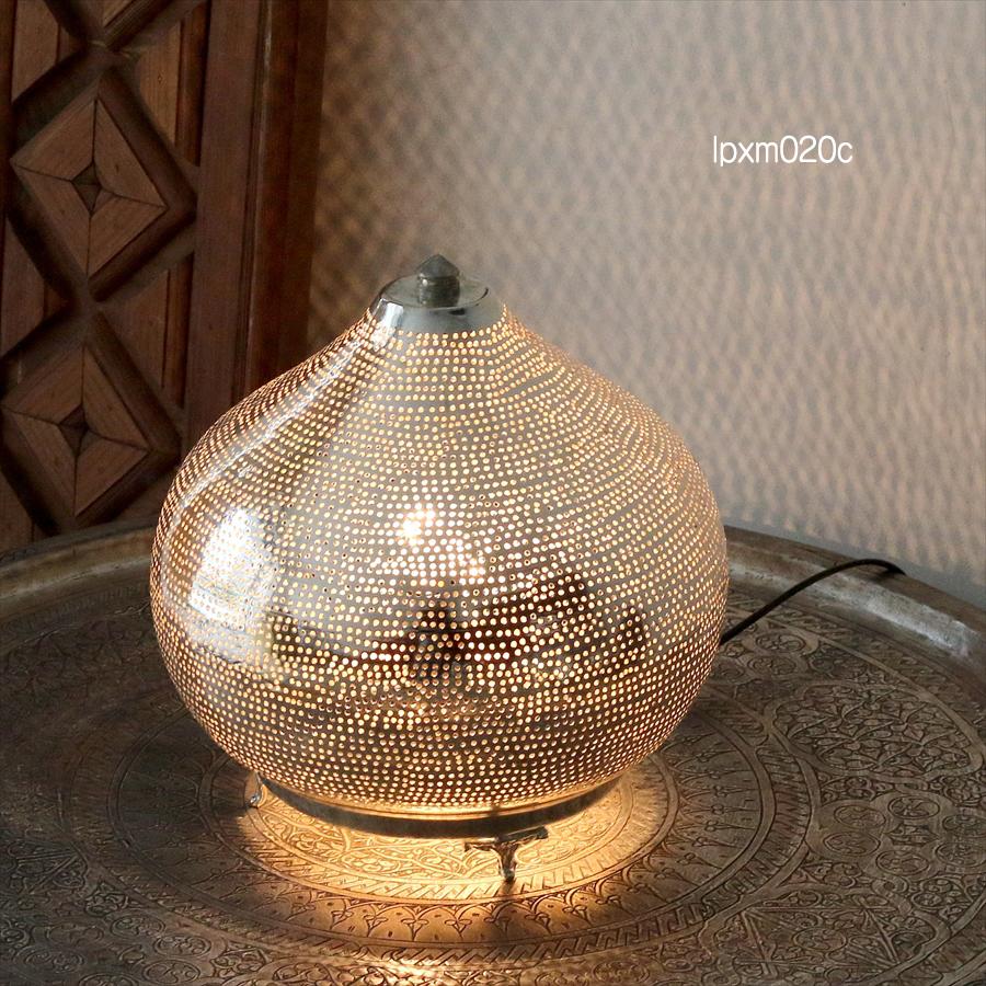 モロッコ メタルシェード・スタンドランプ/Moroccan Metal shade LampsΦ21cm/Sogan シルバー色/ドット