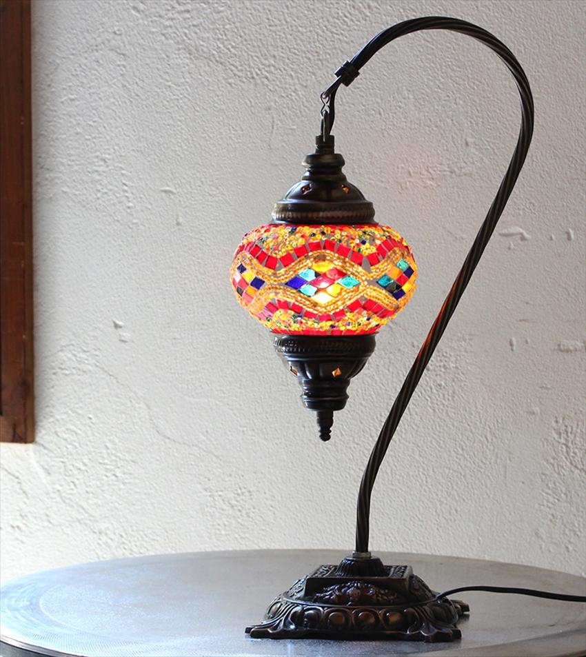 トルコ ランプ モザイク トルコランプ/モザイクランプテーブルスタンドランプ・ハンギング13cmレッドミックス・アーガイル