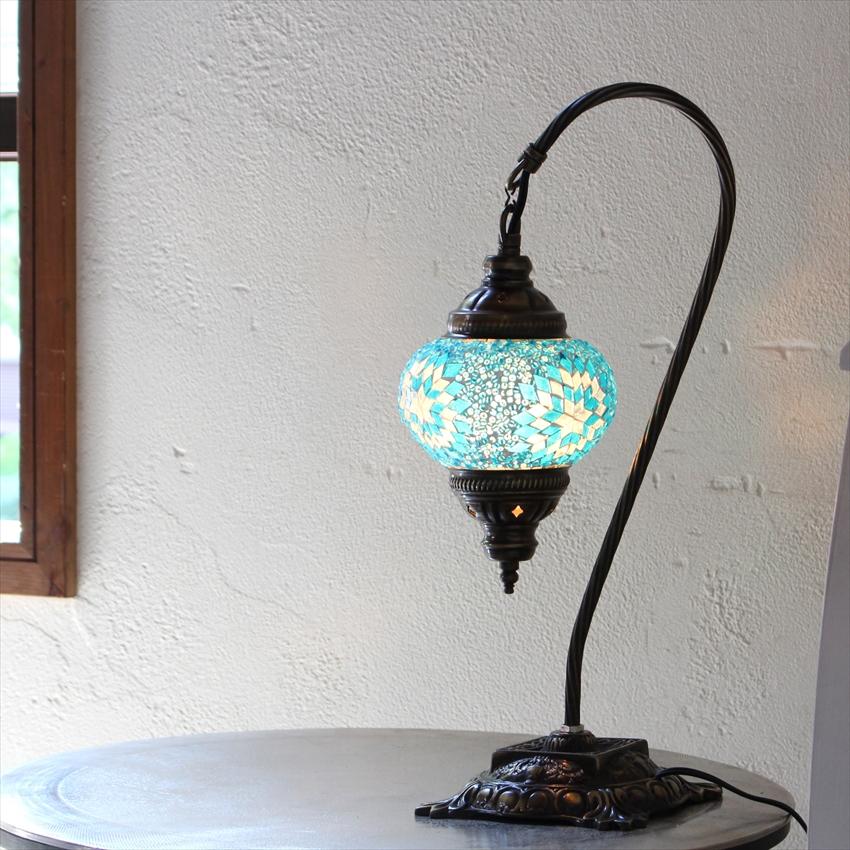トルコ ランプ モザイク トルコランプ/モザイクランプテーブルスタンドランプ・ハンギング13cmターコイズブルー・フラワー