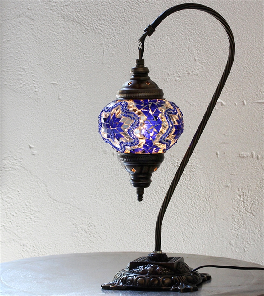 トルコ ランプ モザイク トルコランプ/モザイクランプテーブルスタンドランプ・ハンギング13cmコバルトブルー・スター