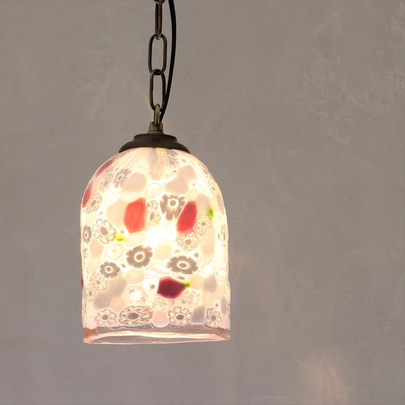 ベネチアンガラスシェード・ペンダントライト /Venetian Glass Shade Light φ12cm/クリスタッロ/サクラ/E17・60W電球付属