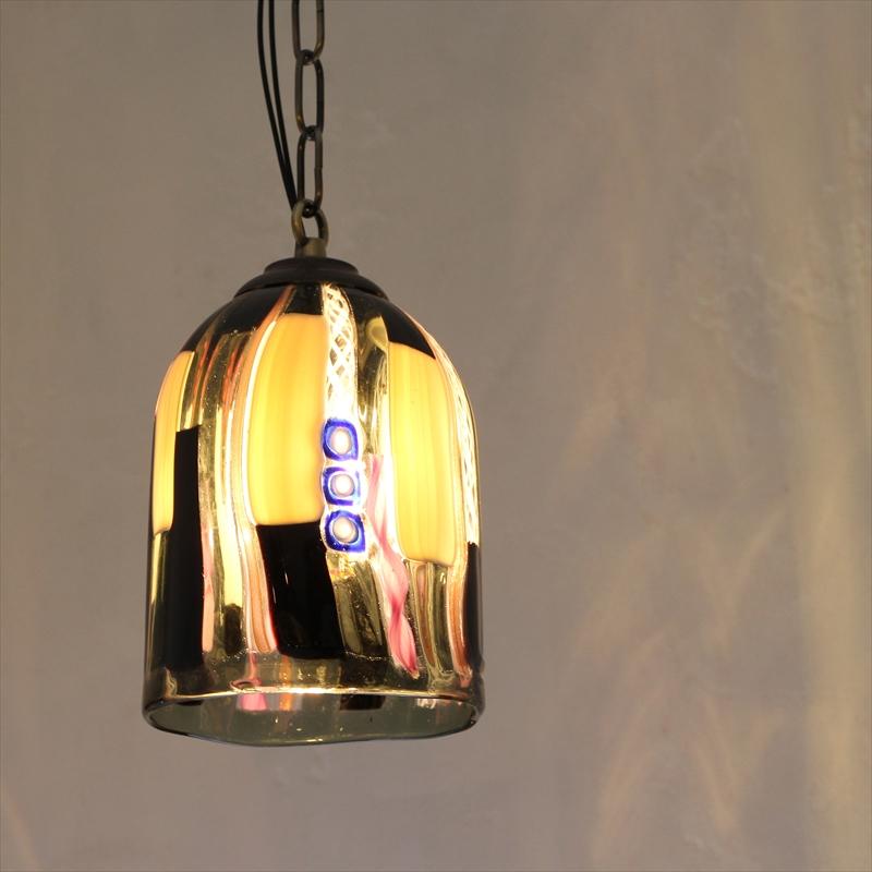 ベネチアンガラスシェード・ペンダントライト /Venetian Glass Shade Light φ12cm/アベンチュリーナ/グレー/E17・60W電球付属
