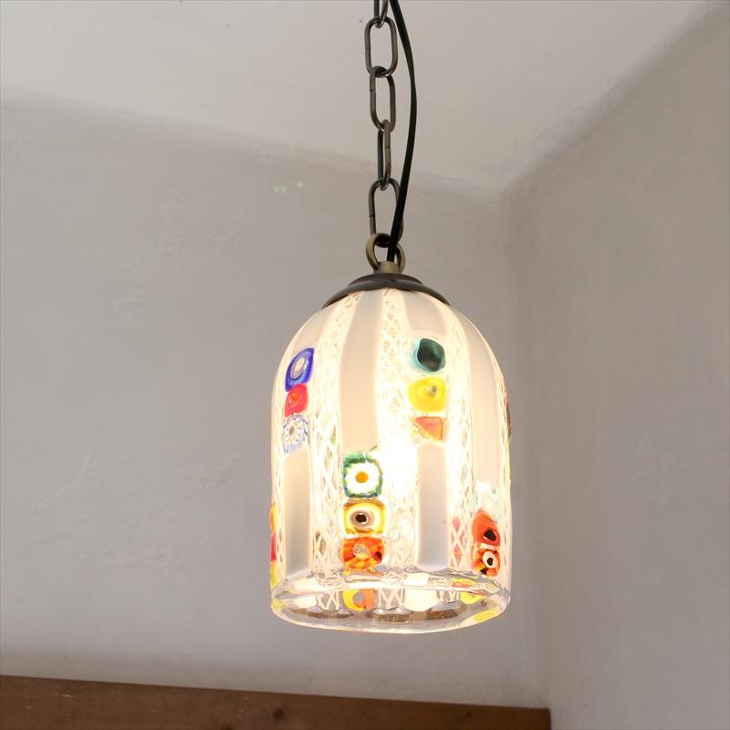 ベネチアンガラスシェード・ペンダントライト /Venetian Glass Shade Light φ9.5cm/クリスタッロ・フィリグラーナ/クリア・ホワイト/E17・60W電球付属