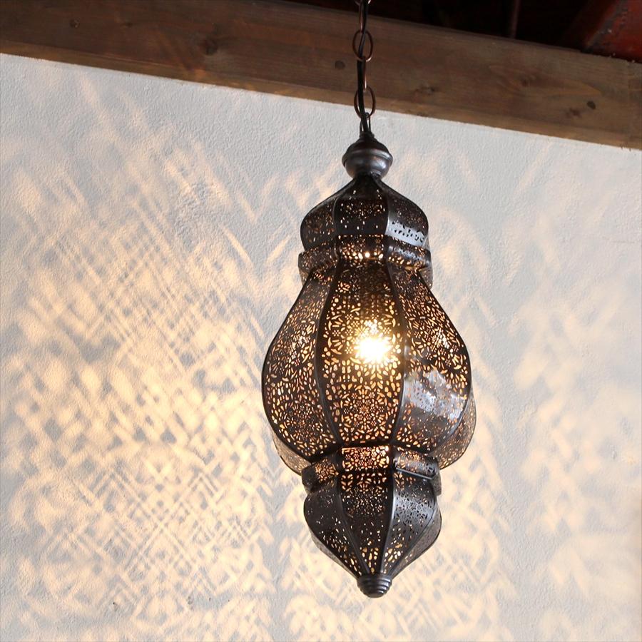 モロッコランプ・ランタン 花の透かし模様Morocco Lamp, 25W1灯 ペンダントランプ1灯