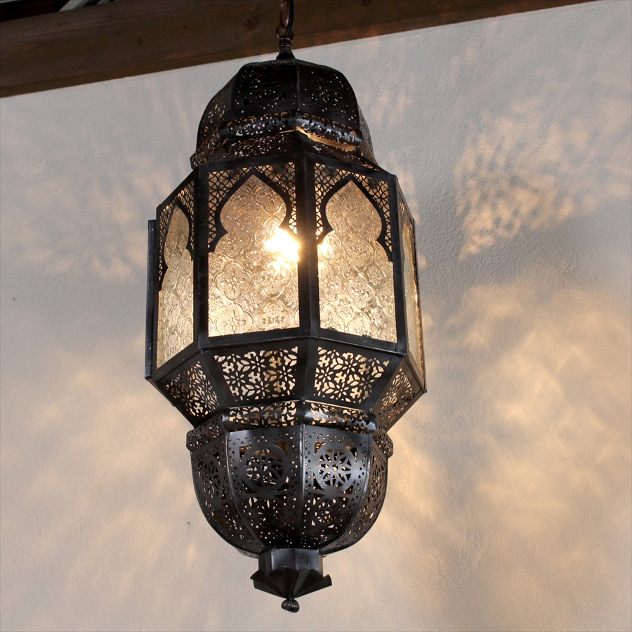 モロッコランプ・ランタン レリーフガラス8面のエキゾチックなランタン・ミフラープMorocco Lamp, Mihrab, 25W1灯 ペンダントランプ1灯