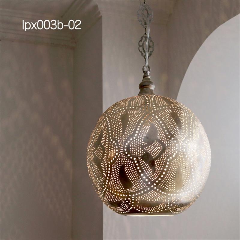 モロッコランプ/Moroccan Metal shade Lamps メタルシェード・ペンダントランプ エジプト製 Φ30cm/Football シルバー色/ロータス 白熱電球付き