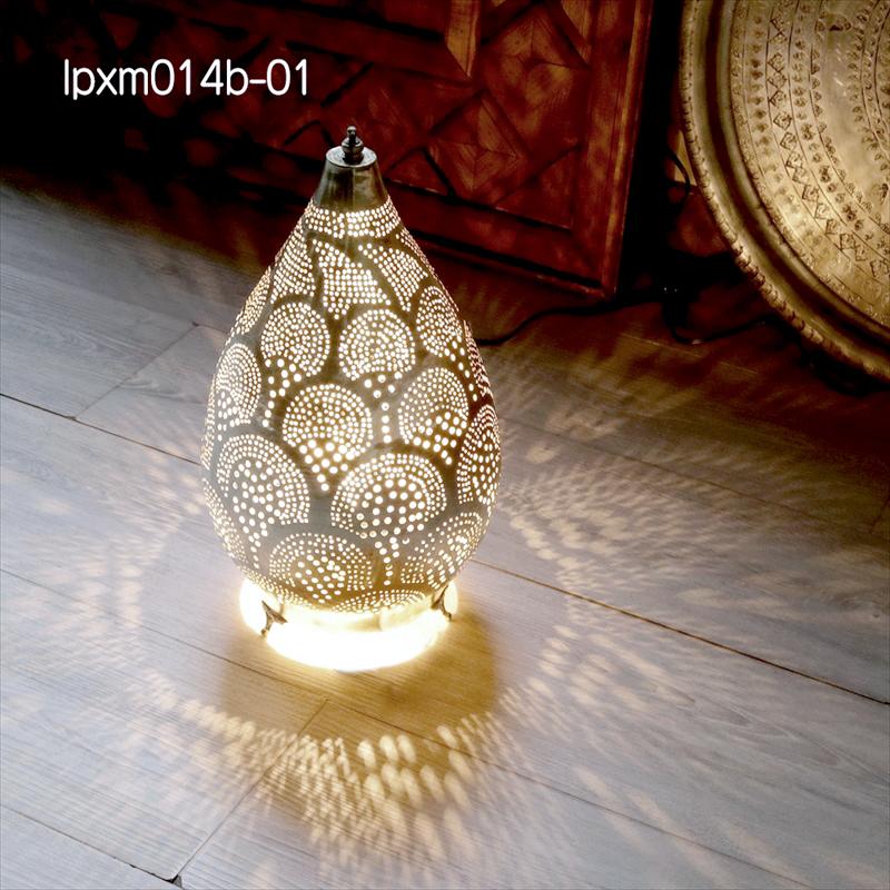 モロッコ メタルシェード・スタンドランプ/Moroccan Metal shade LampsΦ22cm/Raindrop シルバー色/レインボー