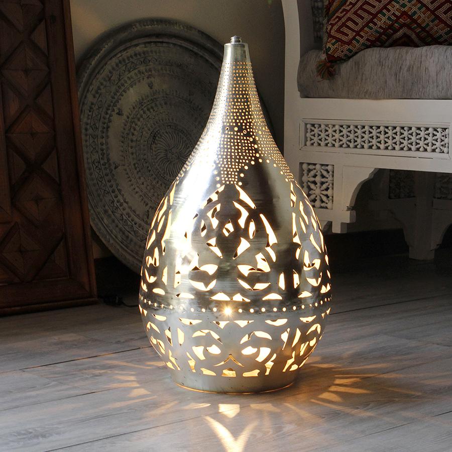 モロッコ メタルシェード・スタンドランプ/Moroccan Metal shade LampsΦ26cm/Raindrop シルバー色/アラベスク