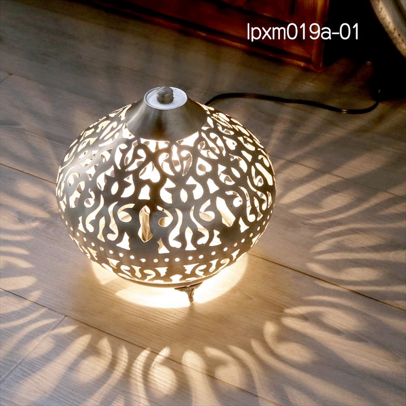 モロッコ メタルシェード・スタンドランプ/Moroccan Metal shade LampsΦ24cm/Sogan シルバー色/アラベスク