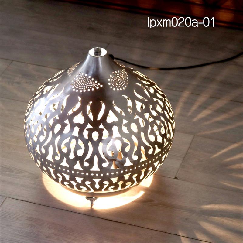 モロッコ メタルシェード・スタンドランプ/Moroccan Metal shade LampsΦ35.5cm/Sogan シルバー色/アラベスク