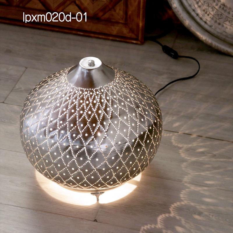 モロッコ メタルシェード・スタンドランプ/Moroccan Metal shade LampsΦ34cm/Sogan シルバー色/パインアップル