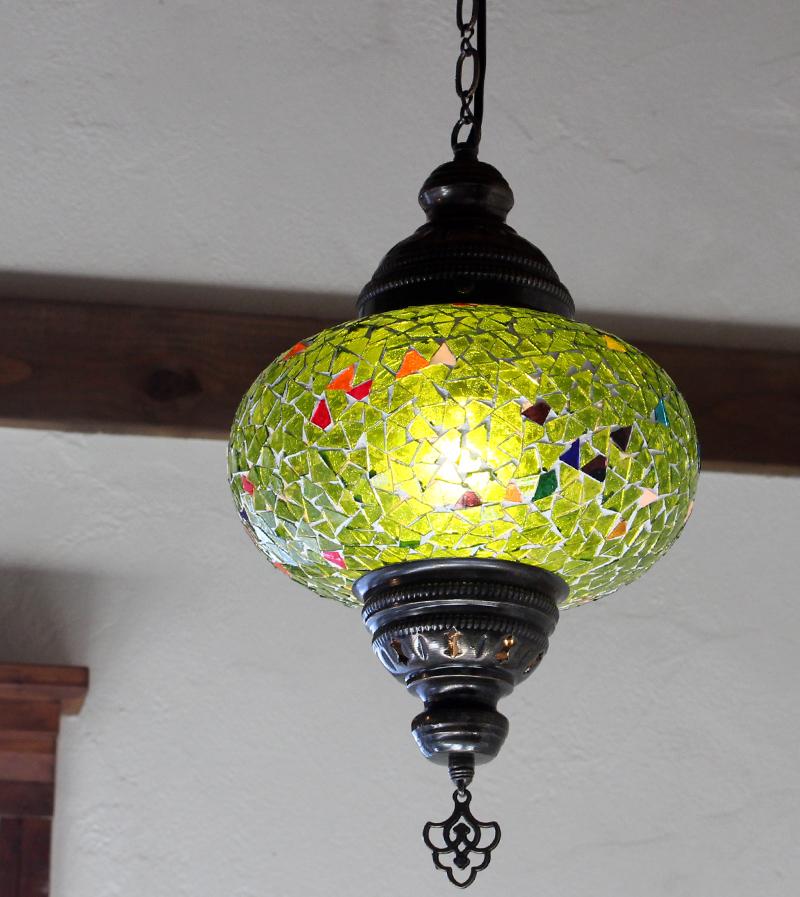 トルコモザイクガラスランプ/ペンダントランプ/直径22cm/ライトグリーン