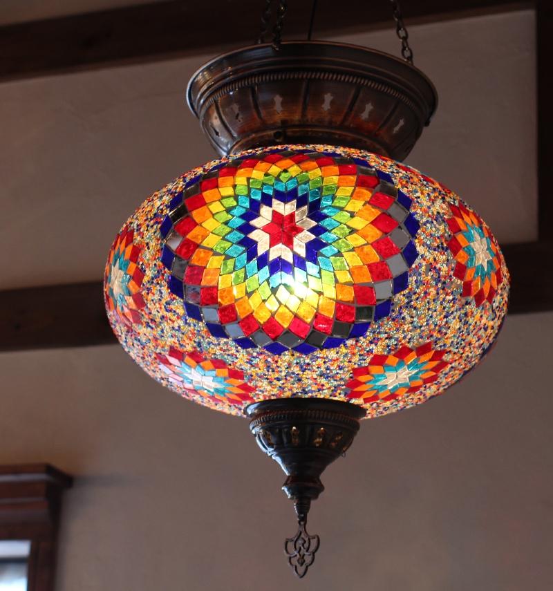 トルコ大型照明・パレスランプ・ガラスペンダントランプ1灯/直径36cm/カラフルフラワー E17 25w ミニクリプトン電球