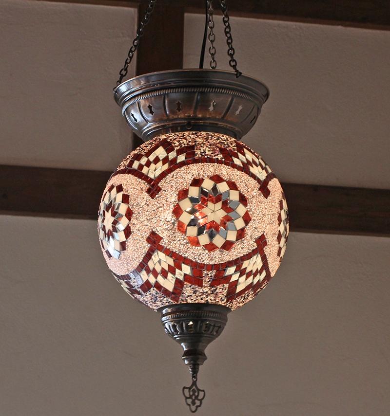 トルコモザイクガラスランプ・大型パレスランプ/ラウンド直径25cm/パープルサークル E17 25w ミニクリプトン電球