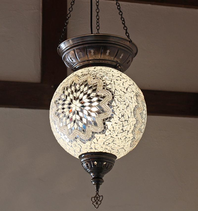 トルコモザイクガラスランプ・大型パレスランプ/ラウンド直径25cm/クリアホワイトフラワー E17 25w ミニクリプトン電球