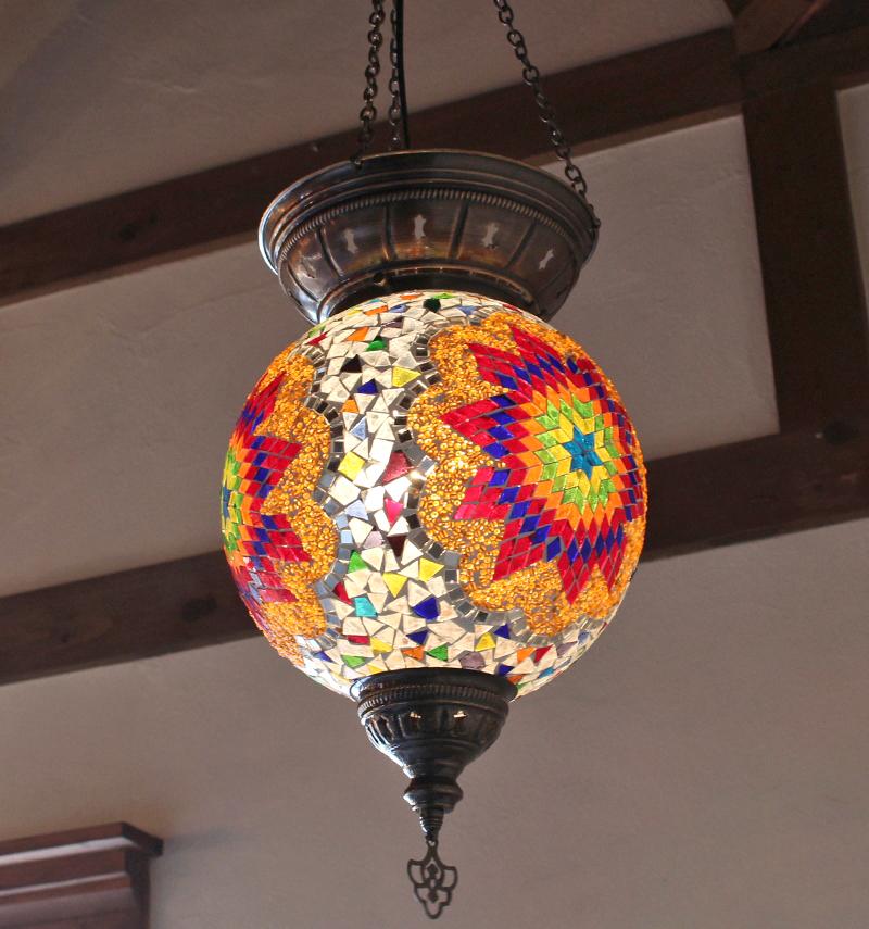 トルコランプ/モザイクガラスランプ・大型パレスランプ/ラウンド直径25cm/クリア&カラフルフラワー E17 25w ミニクリプトン電球