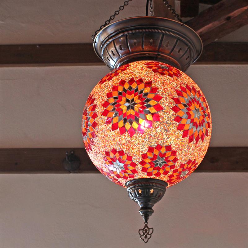 トルコランプ/モザイクガラスランプ・大型ペンダントライト・エスニック直径30cm/レッド&オレンジフラワー E17 25w ミニクリプトン電球