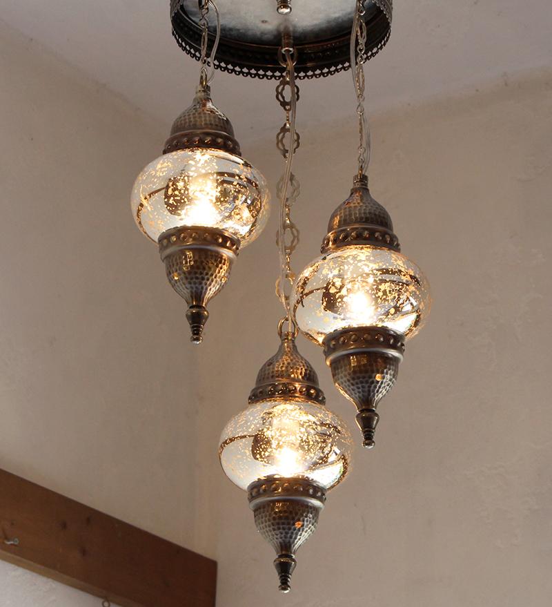 トルコランプ・3灯シャンデリア螺旋/ガラスランプシルバー