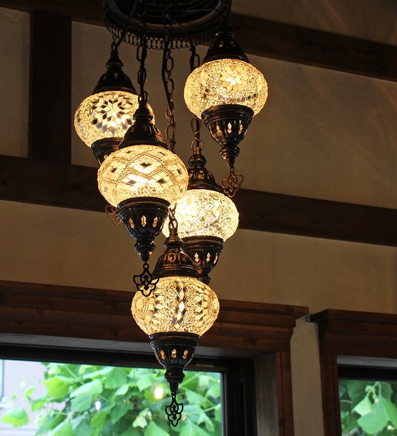トルコガラスランプ/モザイクガラスシャンデリア全体の長さ95cm/直径31cmホワイトカラー/15W×5灯/15W×5灯