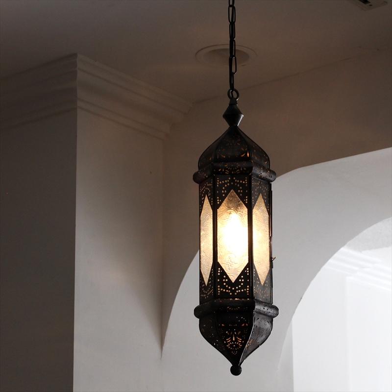 モロッコランプ・ガラスペンダントランプ・ランタン 全長77cm/吊り型ランタンレリーフガラス6面のシンプルな吊りランタン/ 25W1灯 ペンダントランプ1灯