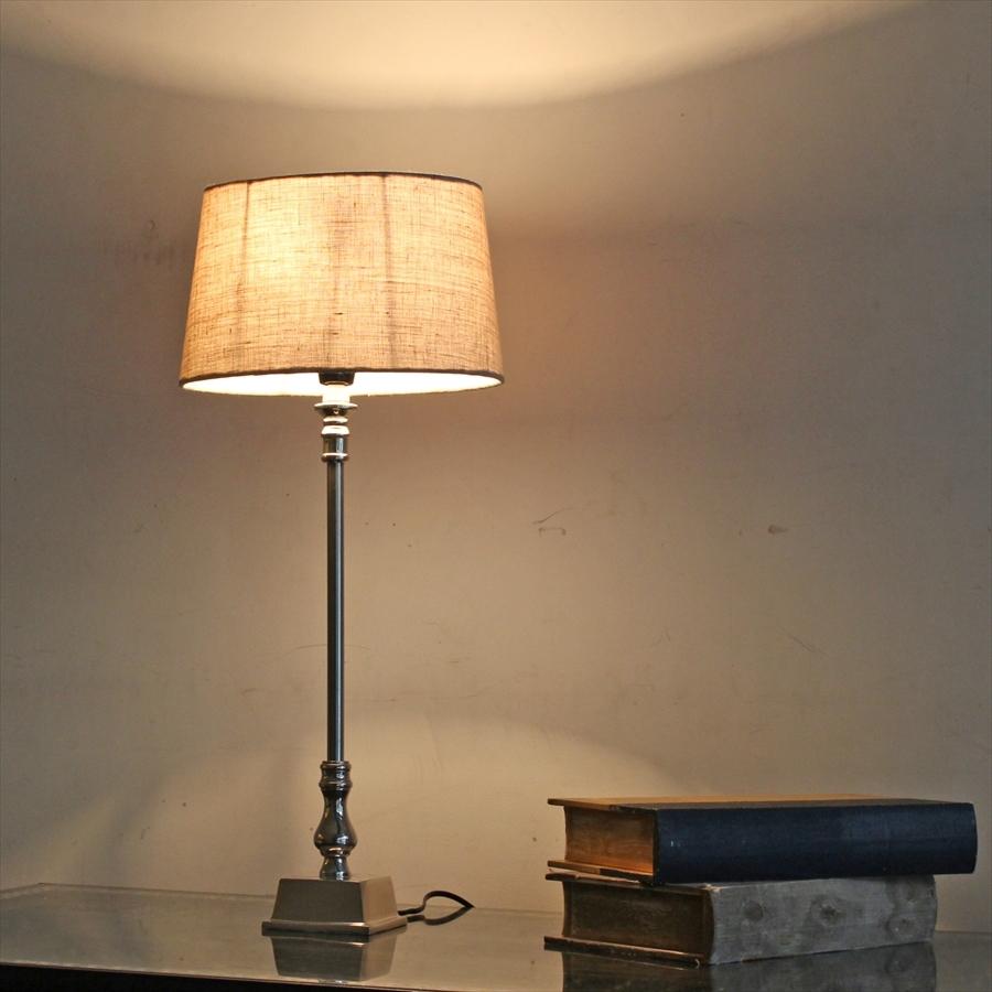 布シェードスタンドランプ/ホルダー式Φ25cm/高さ55cm/コットン・杢ベージュ オーバル 楕円
