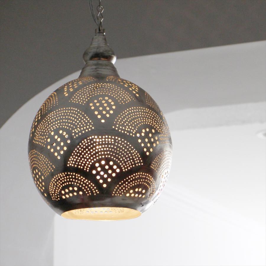 モロッコランプ/Moroccan Metal shade Lamps メタルシェード・ペンダントランプ エジプト製 Φ19cm/Football グレー色/レインボー E17 25W 白熱電球付き