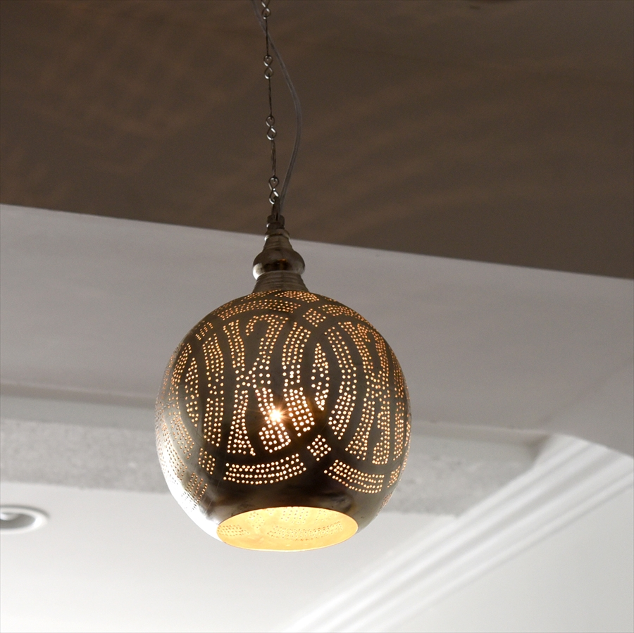 モロッコランプ/Moroccan Metal shade Lamps メタルシェード・ペンダントランプ エジプト製 φ19cm/Football グレー色/ロータス E17 25W 白熱電球付き