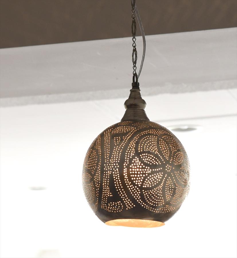 モロッコランプ/Moroccan Metal shade Lamps メタルシェード・ペンダントランプ エジプト製 φ20cmグレー色/ロータス E17型 25W 白熱電球付き