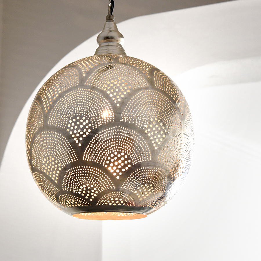 モロッコランプ/Moroccan Metal shade Lamps メタルシェード・ペンダントランプ エジプト製 φ26cmグレー色/レインボー E17型 25W 白熱電球付き