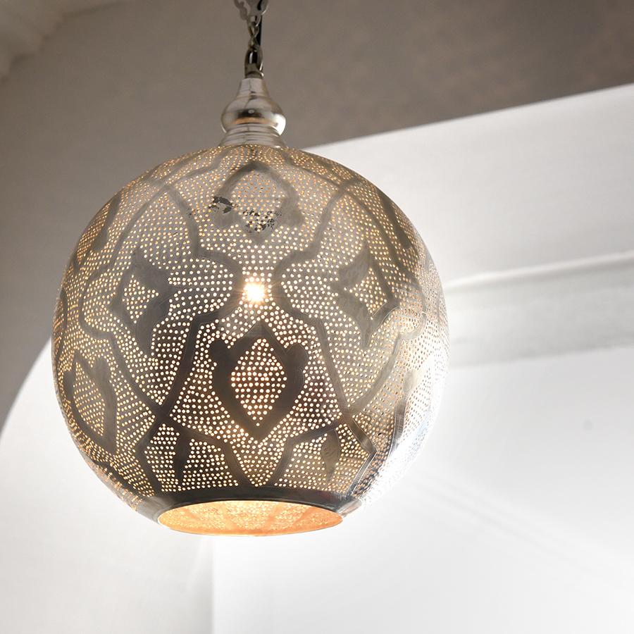 モロッコランプ/Moroccan Metal shade Lamps メタルシェード・ペンダントランプ エジプト製 φ26cmグレー色/ロータス E17型 25W 白熱電球付き