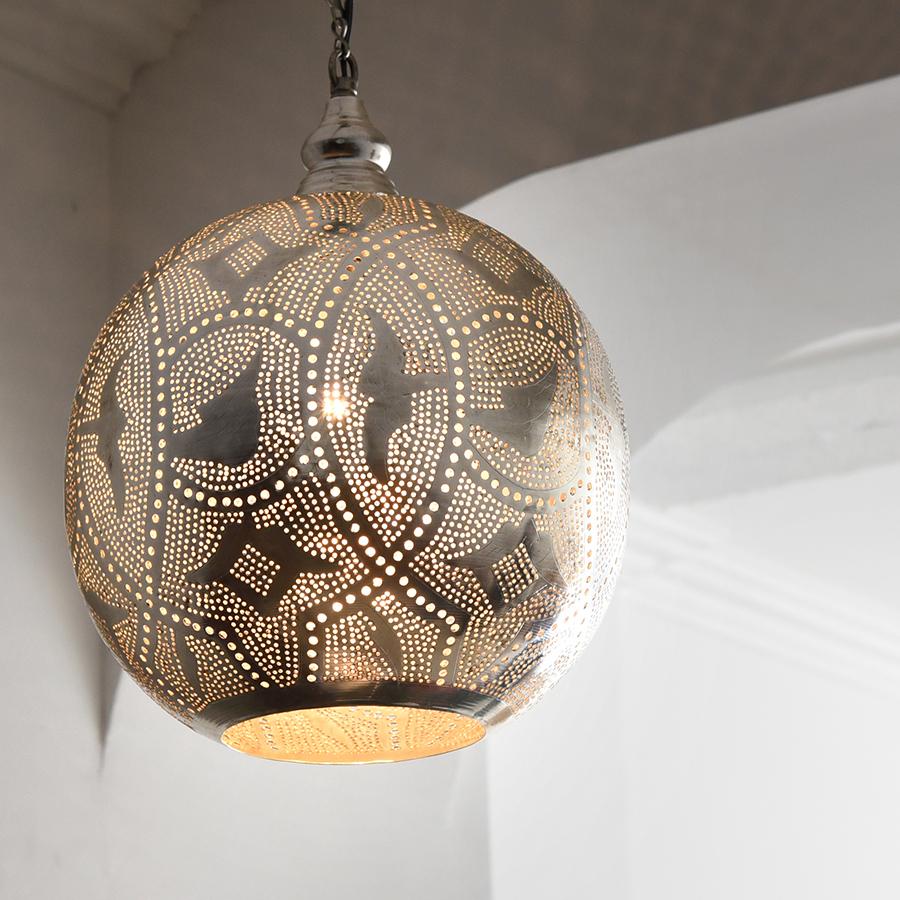 モロッコランプ/Moroccan Metal shade Lamps メタルシェード・ペンダントランプ エジプト製 φ27cmグレー色/ロータス E17型 25W 白熱電球付き