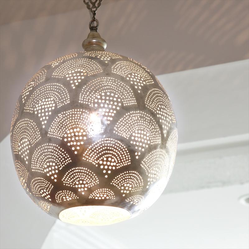 モロッコランプ/Moroccan Metal shade Lamps メタルシェード・ペンダントランプ エジプト製 Φ30cm/Football グレー色/レインボー E26 40W 白熱電球付き