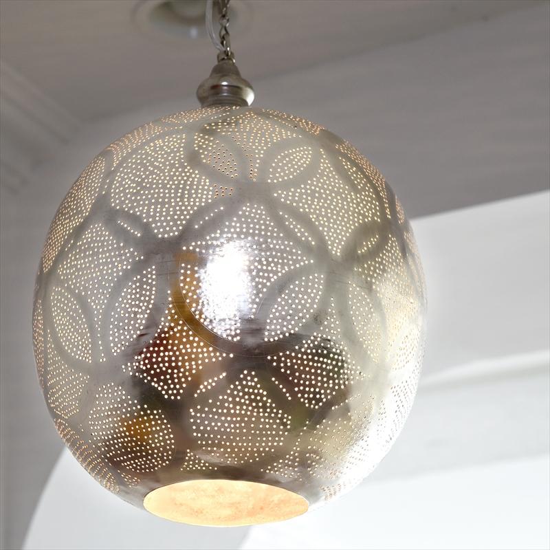 モロッコランプ/Moroccan Metal shade Lamps メタルシェード・ペンダントランプ エジプト製 Φ30cm/Football グレー色/ロータス E26 40W 白熱電球付き