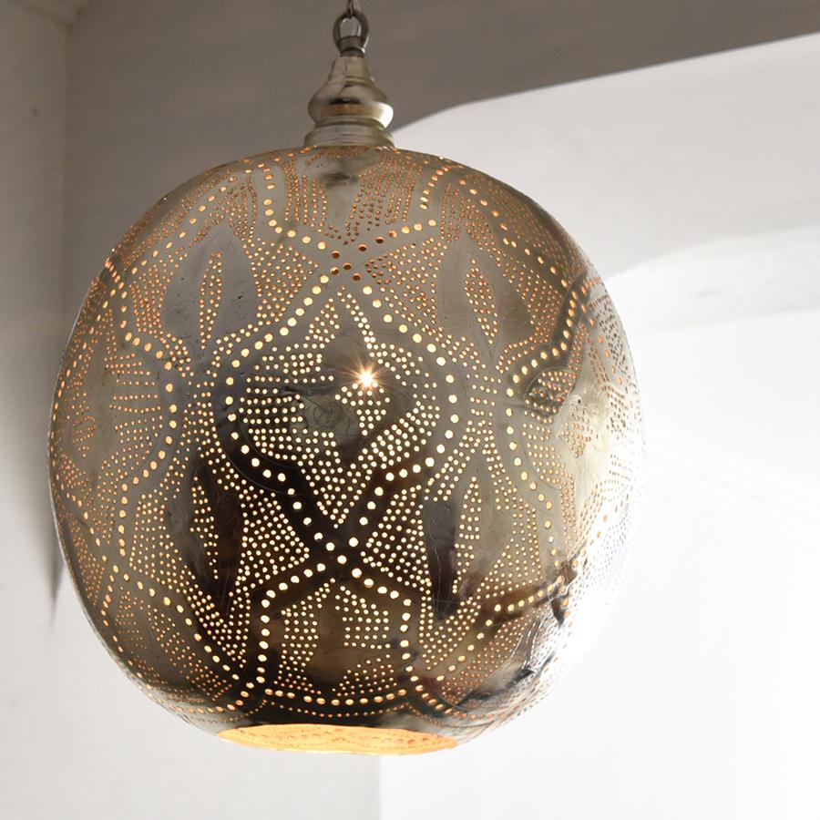 モロッコランプ/Moroccan Metal shade Lamps メタルシェード・ペンダントランプ エジプト製 φ31cmグレー色/ロータス E26型 40W 白熱電球付き
