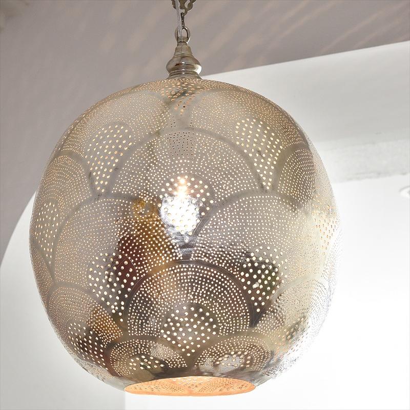 モロッコランプ/Moroccan Metal shade Lamps メタルシェード・ペンダントランプ エジプト製 Φ38cm/Football グレー色/レインボー E26 40W 白熱電球付き