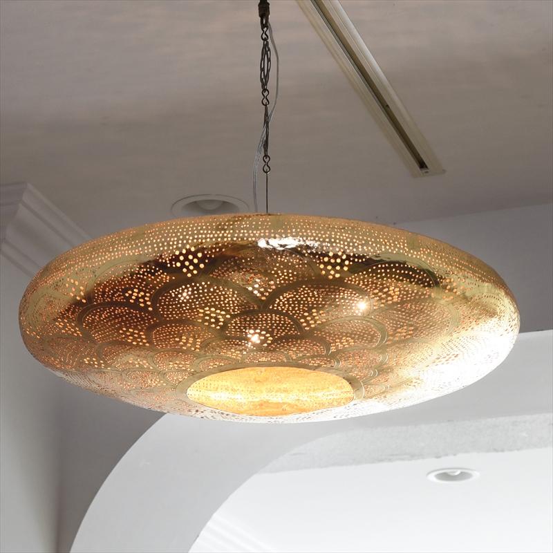 モロッコランプ/Moroccan Metal shade Lamps メタルシェード・ペンダントランプ エジプト製 Φ55cm/UFO ゴールド色/レインボー E17 25W 白熱電球付き