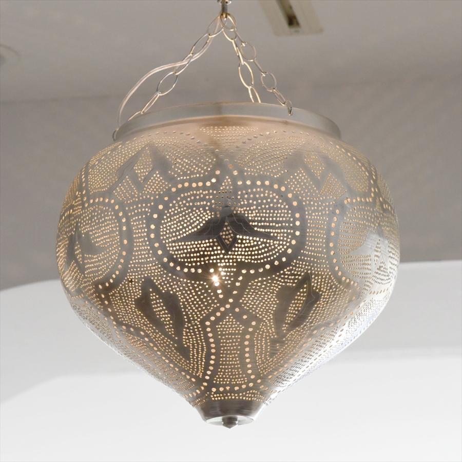 モロッコランプ/Moroccan Metal shade Lamps メタルシェード・ペンダントランプ エジプト製 φ31cm シルバー色 E17 25W 白熱電球付き